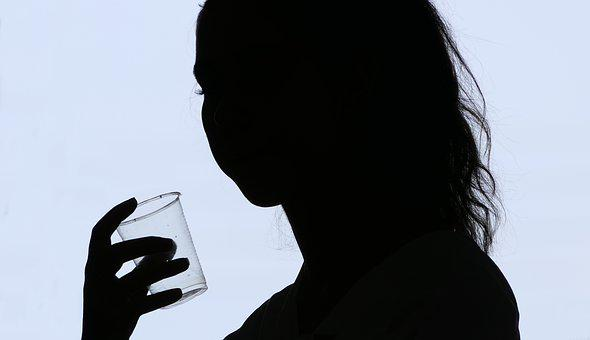 Silhouette, Woman, Shadow, Glass, Thoughts, Reflection