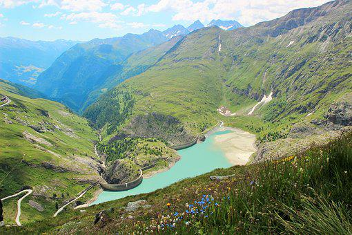 Hochlapenstrasse, Dam, Mountains, Austria, Scenery