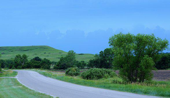Scenic, Byway, Country Road, Kansas, Hills, Storm
