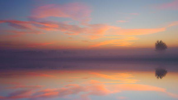 Dawn, Lake, Mirroring, Sunset, Dusk, Evening, Landscape
