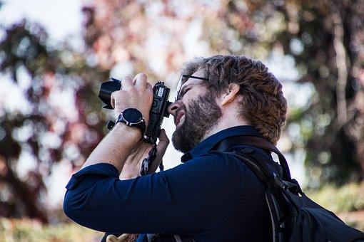 Photographer, Photo, Man, Beard, Technology, Trip