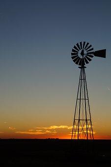 Kansas, Sunset, Prairie, Great Plains, Plains, Windmill