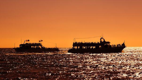 Sunset, Boats, Sea, Sky, Dawn, Evening, Dusk, Summer