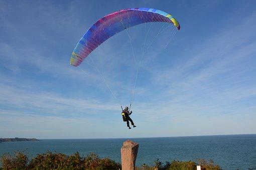 Paragliding, Paraglider, Take Off, Wind, Air