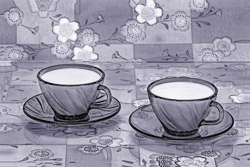 Cup, A Cup Of Milk, Milk, Drink, Food, Two, Couple