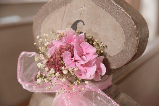 Flowers, Deco, Pink, Wedding, Church, Romance, Wood