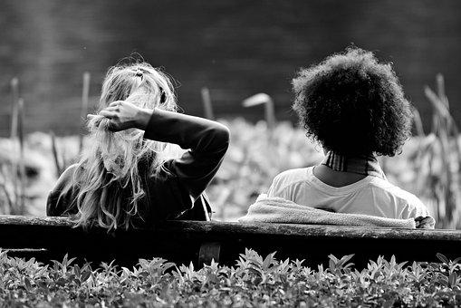 Girl, Hair, Blonde, Brunette, Arm, Sitting, Bench