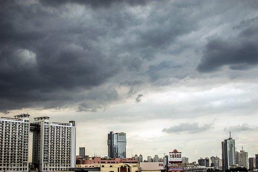 City, China, Tianjin, Autumn, Dark Clouds, Before Rain