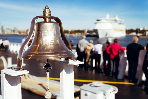 Bell, Brass, Polished, Ferry, Usa, Cruise Ship, Ocean