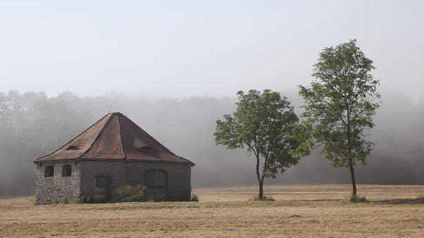 Fog, Building, Landscape, Nature, Meadow, Field, Trees