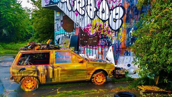 Car, Vehicle, Colorful, Abandoned, Street Art
