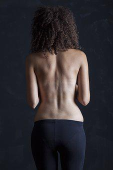 Model, Woman, Naked, Back, Rear, Dark, Skin, Waist