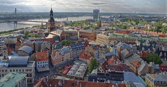 Latvia, Riga, Daugava, River, Historic Center