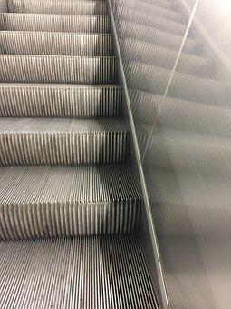 Escalator, Stairs, Railway Station, City, Perspective