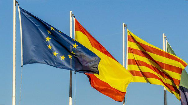 Flag, Spain, European Union, Europe, Catalonia, Country