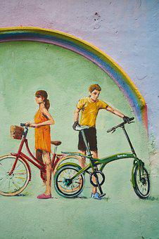 Graffiti, Bicycle, Wall, Art, Street, Urban, Color