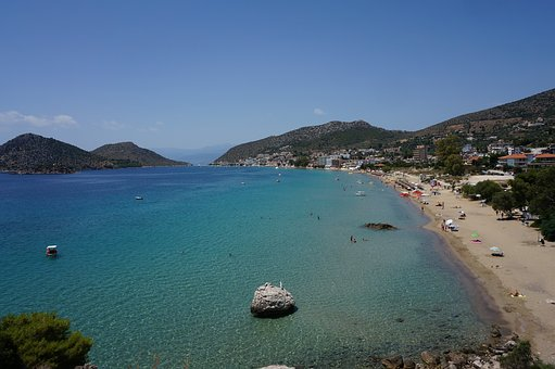 Greece, Tolo, Beach, Panorama, Landscape, Water