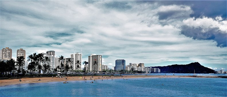 Diamond Head, Honolulu, Hawaii, Ocean, Waikiki, Beach