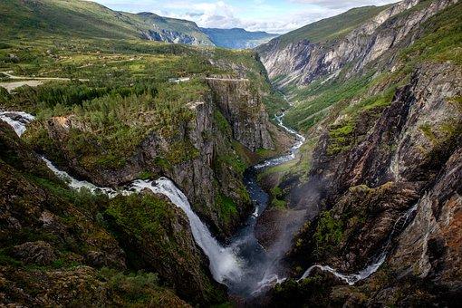 Waterfall, Norway, Hardanger, Nature, Landscape, River