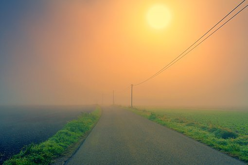 Dawn, Road, Fog, Landscape, Strommast, Electricity