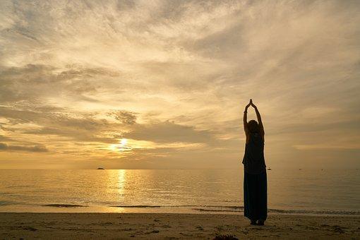 Sunset, Woman, Model, Pose, Yoga, Exercise, Nature