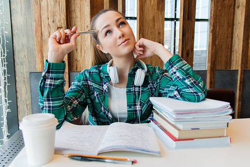 Girl, Young, Student, Sitting, Table, Books, Notebook