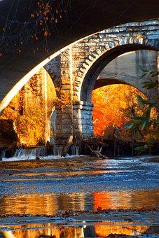 Bridge, Water, River, Sunset, Evening, Landscape