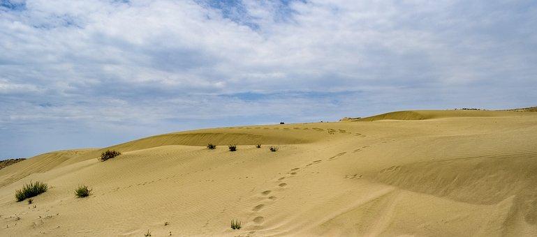 Footsteps, Dunes, Sand, Sky, Clouds, Sea, Nature