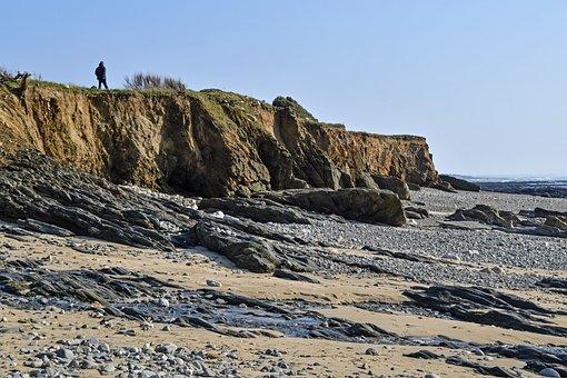 Beach, Sea, Rock, Landscape, Side, Plozévet
