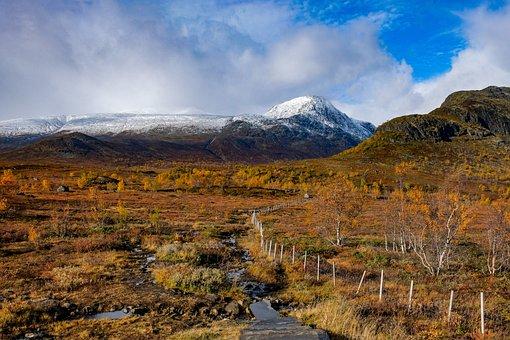 Norway, Valdres, Outdoors, Snow, Mountain, Winter, Sky