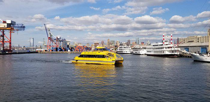 New York, Water Taxi, Watercraft, Nyc, Skyline, River