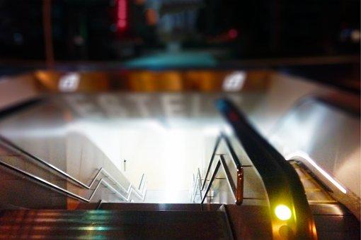 Urban, Escalator, Street, Atmosphere, City, Night
