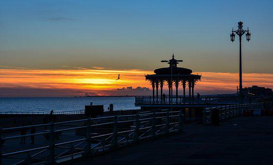 Sunset, Seaside, Landscape, Twilight, Sun, Brighton