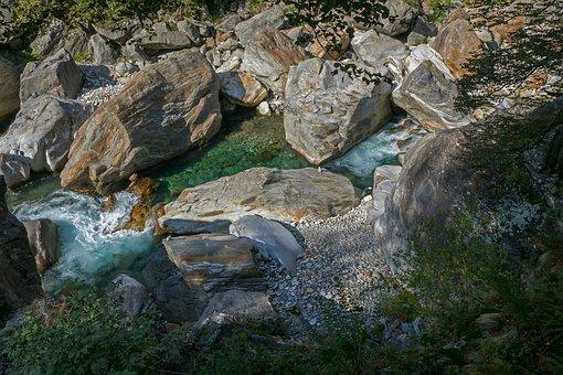 Water, River, Rock, Verzasca, Ticino, Switzerland
