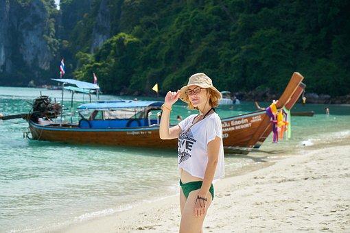 Woman, Tourist, Mayo, Bikini, Thailand, Holiday, Happy
