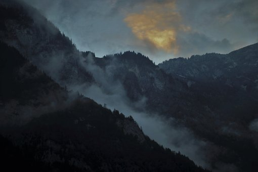 Before Sunrise, Dawn, Mountains, View, High, The Alps