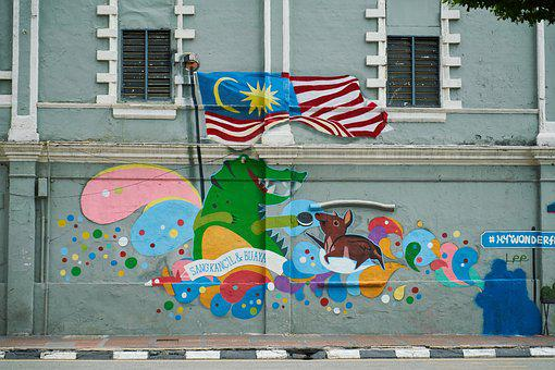 Graffiti, Wall, Malaysia, Flag, Art, Urban, Paint