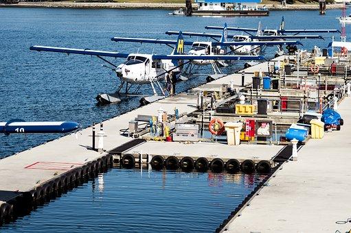 Float Planes, Planes, Ocean, Vancouver, Pier, Departure