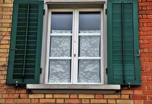 Window, Window Sill, Lake Dusia, Brick, Shutters, Walls