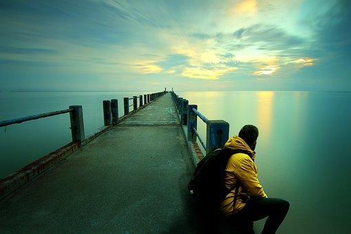 Thinking, Sitting, Beach, Sunset, Watching, Ocean, Guy