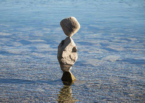 Stone Sculpture, Sculpture, Stones, Water, Lake