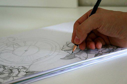 Art, Artist, Drawing, Sketch, Paper, Pencil, Clock