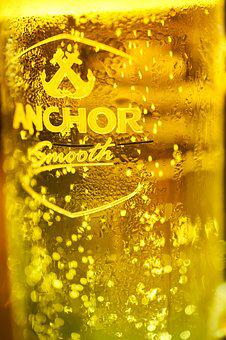 Beer, Anchor, Cambodia, Yellow, Wet, Drop, Cold