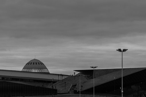 Katowice, Saucer, Black And White, Architecture