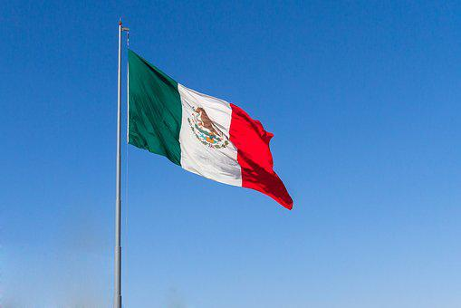 México, Mexico, Flag, Country, Mexican, Sky, Blue, Red