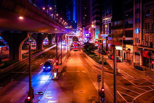 Night, Hong Kong, City, Building, Architecture, Sky