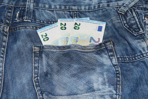 Jeans, Pocket, Money, Blue, Clothing, Textiles, Sewing