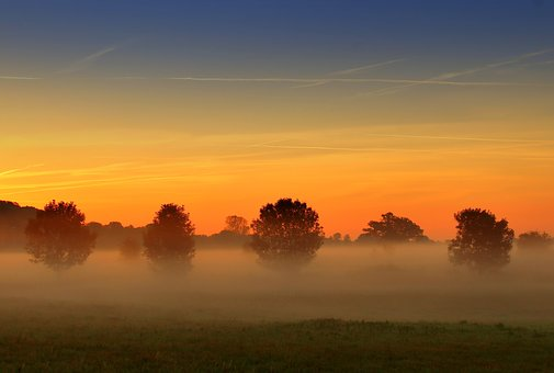 Fog, Sunrise, Landscape, Nature, Haze, Trees, Autumn