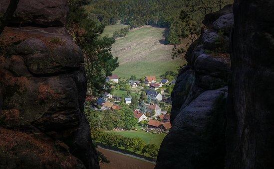 Bastei, Village, Saxony, Germany, Landscape, Nature
