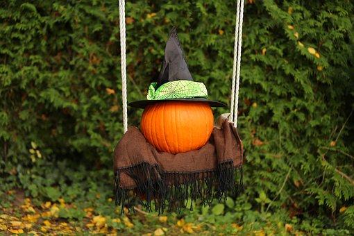 Autumn, Halloween, Pumpkin, Hat, Leaves, Swing, Holiday